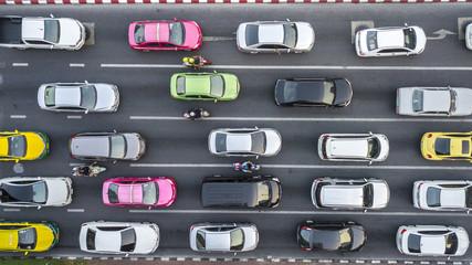 Aerial drone photograph of traffic jam in metropolis city. Fotomurales