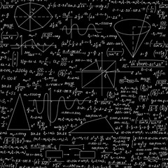 Mathematical vector seamless endless texture with formulas, figures and equations, handwritten with chalk on blackboard