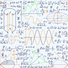Math vector seamless pattern with equations, figures, formulas, plots and other calculations, handwritten on grid copybook paper, different colors
