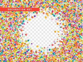Colorful confetti isolated with transparent background. Vector illustration