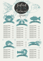 Vector menu with price list for a seafood restaurant with a picture of marine animals, fish and handwritten inscriptions in retro style
