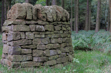 A small section of traditional Biritsh dry stone wall with copy space