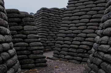 Reconstructed trenches made using concrete moulded sand bags