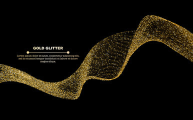 Gold glitter flow abstract lines isolated on black background, vector illustration. Sparkling dots wave with space for text for banners, party invitations, graphic design.