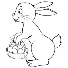 Easter Bunny with Easter Basket Coloring Page