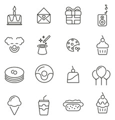 Birthday Party Icons Thin Line Vector Illustration Set