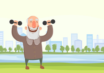Happy smiling elderly man doing morning sports exercises with dumbbells in city park. Active lifestyle and sport activities in old age. Vector illustration.