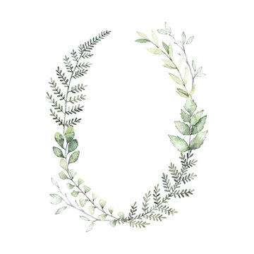 Hand drawn watercolor illustration. Botanical wreath of green branches and leaves. Fern. Spring mood. Floral Design elements. Perfect for invitations, greeting cards, prints, posters