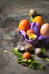 Easter greeting card with colored yellow orange eggs in purple box with quail eggs, yolk and green branches over old metal background. Top view, space