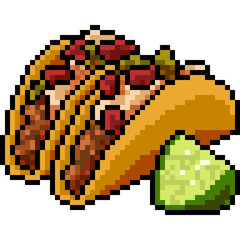 vector pixel art food taco