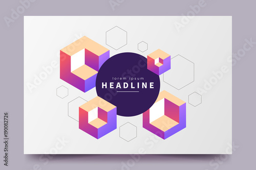 Abstract colorful isometric background horizontal minimalistic abstract colorful isometric background horizontal minimalistic poster with isometric cubes and place for text stopboris Images