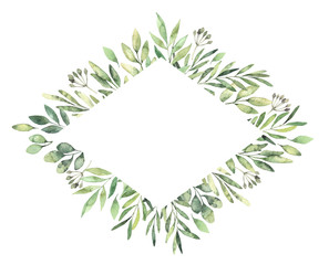 Hand drawn watercolor illustration. Botanical rhombus label with green branches and leaves. Spring mood. Floral Design elements. Perfect for invitations, greeting cards, prints, posters, packing