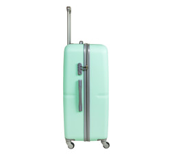 Mint color suitcase isolated on white background. Polycarbonate suitcase isolated on white. Mint color suitcase.