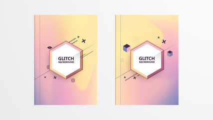 Holographic shapes backgrounds set. Modern geometric covers design. Applicable for gift card,cover,poster,brochure,magazine. Eps10 vector template