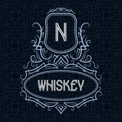 Whiskey label design template. Patterned vintage monogram with text on seamless pattern background.