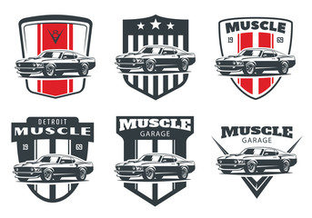 Set of classic muscle car emblems and badges isolated on white background.
