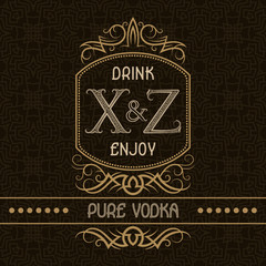 Pure vodka label design template. Patterned vintage monogram with text on seamless pattern background.