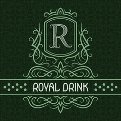 Royal drink label design template. Patterned vintage monogram with text on seamless pattern background.