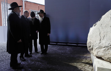 Russian President Putin accompanied by museum's director Boroda, businessmen Vekselberg and Chief Rabbi Lazar, visits the Jewish Museum and Tolerance Centre as part of the International Holocaust Victims Remembrance Day, in Moscow