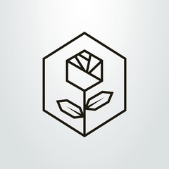 Black and white simple geometric line art rose flower icon