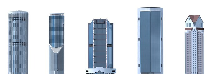 Skyscrapers 3D Illustration isolated on white background Fototapete