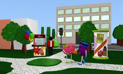 Stadtpark zu Valentin mit Popcornverkäufer und lustigen Valentinsherzen.  3d render