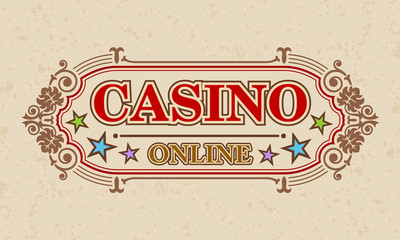 Casino online calligraphic advertising, Vector illustration
