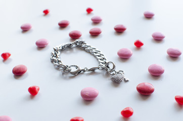 the perfect valentines gift for her a shiny bracelet with chocolate