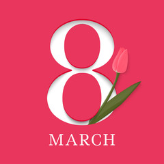 8 March. International Women's Day. Template for posters or cards with number 8 and tulip. Vector illustration