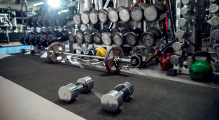gym interior with weight