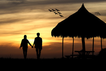 Silhouette of couple man and woman