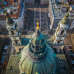 Budapest, Hungary - Aerial view about the towers of the famous St.Stephen's Basilica and St Stephen's Square