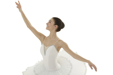 ballerina doing the allonge' pose on white bakground