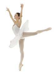ballerina doing a arabesque with a white tutu on white background