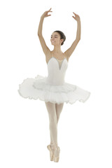 ballerina with white tutu doing the releve pose on white background