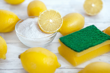 Eco cleaners baking soda, lemons and sponge