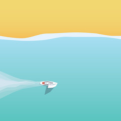Summer holiday or vacation on sailing yacht near the beach vector poster template.