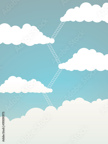 Corporate Ladder Business Vector Concept With Ladders Between Clouds