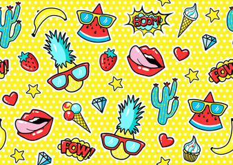 Seamless pattern with fashion patch badges with pineapple, lips, hearts, speech bubbles.  Vector illustration in cartoon 80s-90s style..