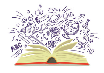 Open book with education, school, science hand drawn sketches on white background. Vector illustration.