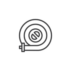 Fire hose reel line icon, outline vector sign, linear style pictogram isolated on white. Symbol, logo illustration. Editable stroke