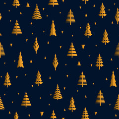 Seamless pattern with cute trees. Vector abstract ornament with Christmas trees.