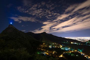 Night View of Rio de Janeiro City and Corcovado Mountain