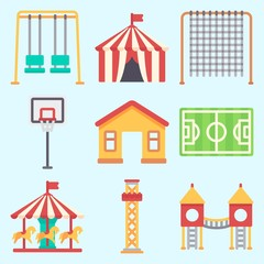 Wall Murals Birds in cages Icons set about Amusement Park with soccer field, playground, horse carousel, climb , flambards experience and swings
