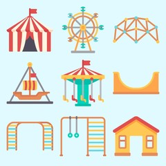 Icons set about Amusement Park with ferris wheel, climbing, skater, pirate ship ride , game zone and climb
