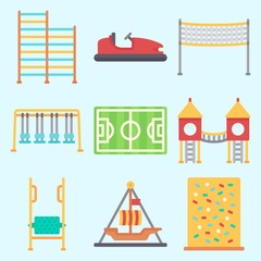 Icons set about Amusement Park with pirate ship ride , carousel, swing , bumber car, soccer field and swings