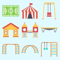 Icons set about Amusement Park with jumping flore, climbing, playground, soccer field, swing  and game zone
