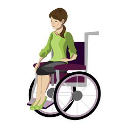 Girl, woman sitting in wheelchair