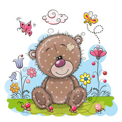 Cute Cartoon Teddy Bear with flowers