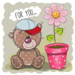 Greeting card Teddy Bear with a flower